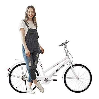 Tengma Bikes for Women 24 Inch Beach Cruiser Bicycle,Commute Body Ease Women's Committed Rider, Damping Comfort Bike, Hybrid Bike White Seaside Travel Bicycle (Women Bike, Lady Bike)