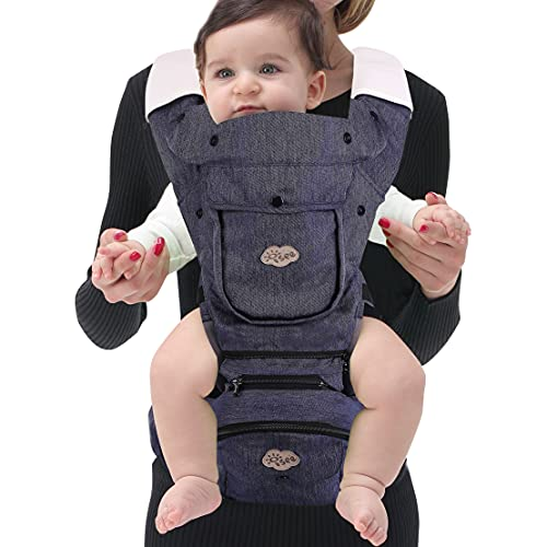ISEE Ergonomic Baby Carrier with Hip Seat, All-Position Baby Carrier for Newborn to Toddler with Lumbar Support, Adjustable Mesh Kangaroo Front Carriers Healthy Hip and Spine for Baby Breastfeeding