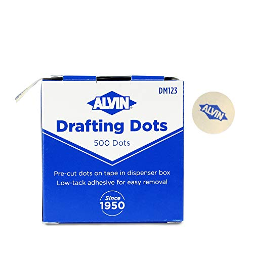 Alvin, Drafting Dots, Low Tack Adhesive, for Drafting, Tracing, Drawing, Household Use, Easy Removal, No Residue - 500 Dots, 7/8-inch Diameter