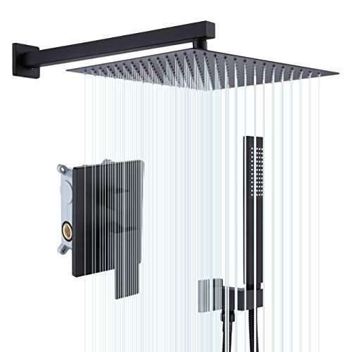 KES Shower System 12 Inch Rain Shower Head with Handheld Spray Shower Faucets Sets Complete Pressure Balance Shower Valve and Trim Kit Matte Black, XB6230S12-BK