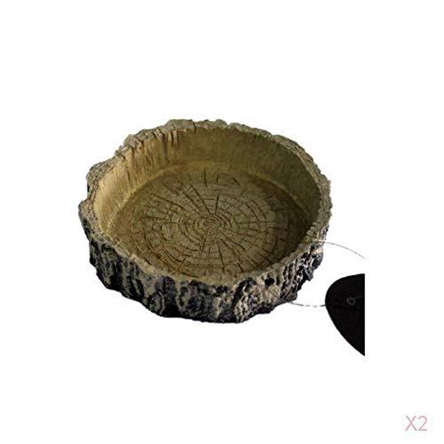 Resina Reptil Comida Y Agua Tazón Para Mascotas Acuario Ornamento Terrario Plato Plato Lagartos Tortugas O Pequeños Reptiles