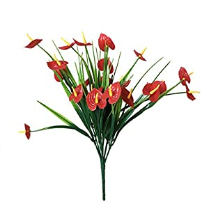 Artificial and Dried Flower 7-brah Artificial Anthurium Flower with Leaves Home Hotel Table Centerpiece Floral Decor Plastic Fake Flower – ( Color: 1PC )