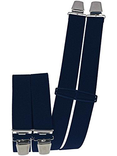 Harrys-Collection Latzhosenträger Arbeitshosenträger 4 extra starke Clips uni und neon Farben, Farben:marine