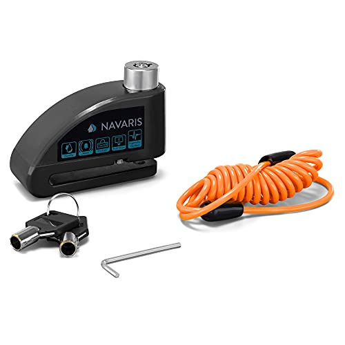 Navaris Candado para Disco de Freno - Pinza antirrobo para Moto con Alarma de 110db - Cepo con 1x Cable de 1.2 y 2X Llave para Motocicleta - Negro