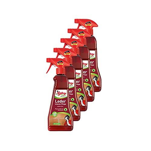 Poliboy - Leder Intensiv Pflege - Sprühmatic Flasche - reinigt, pflegt und schützt alle Glattleder - Imprägnierer - 5er Pack - 5x375ml (1,875 Liter) - Made in Germany