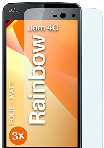 moex Schutzfolie matt kompatibel mit Wiko Rainbow Jam 4G - Folie gegen Reflexionen, Anti Reflex Bildschirmschutz, Matte Bildschirmfolie - 3X Stück