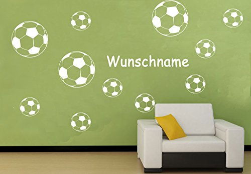 Deco-idea Wandtattoo Wandaufkleber Fussballer Fussball Soccer Football Kinderzimmer wfb07(070 schwarz, set1:1xΦ10,ohne Wunschname)