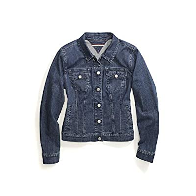 Tommy Hilfiger Women's Adaptive Jean Jacket with Magnetic Buttons, medium wash, Large by Tommy Hilfiger