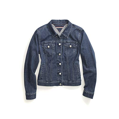 Tommy Hilfiger Damen Jean Jacket with Magnetic Buttons Jeansjacke, Medium Wash, Large
