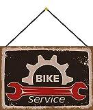 Cartel de Chapa 20 x 30 cm Curvado con cordón Bike Service Bicicleta Taller Vintage decoración Regalo Cartel Tin Sign