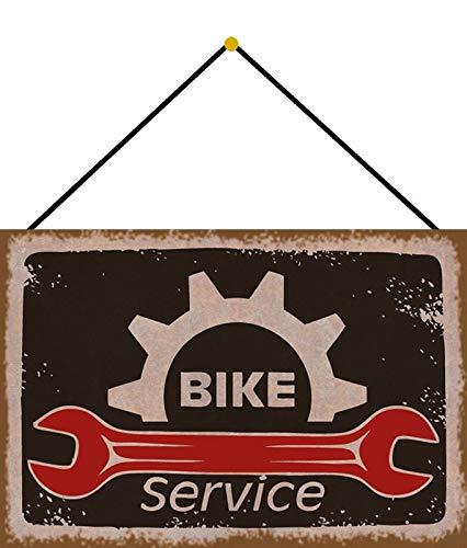 Targa in Metallo 20 x 30 cm bombata con Cordoncino Bike Service Bicicletta Officina Vintage Decorazione Regalo Cartello Tin Sign