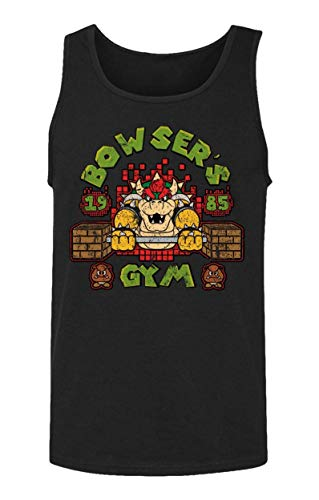 xx New Graphic Mario Novelty tee Bowsers Gym Men's Tank Top,Camisetas y Tops Large