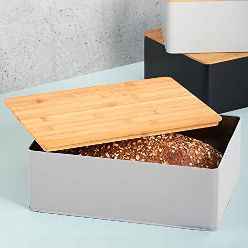 Brotbox 30x22xH11cm mit Bambusdeckel, Grau/Natur, rechteckig, Brotkasten Brotbehälter Brotkiste Brotdose