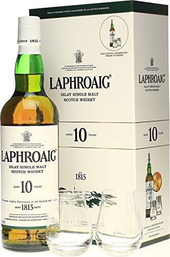 Laphroaig Whisky Escocés 10Y + Estuche con 2 Vasos, 700ml