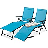 Best Choice Products Set of 2 Outdoor Adjustable Folding Steel Textiline Chaise Reclining Lounge Chairs w/ 6 Back & 2 Leg Positions - Teal