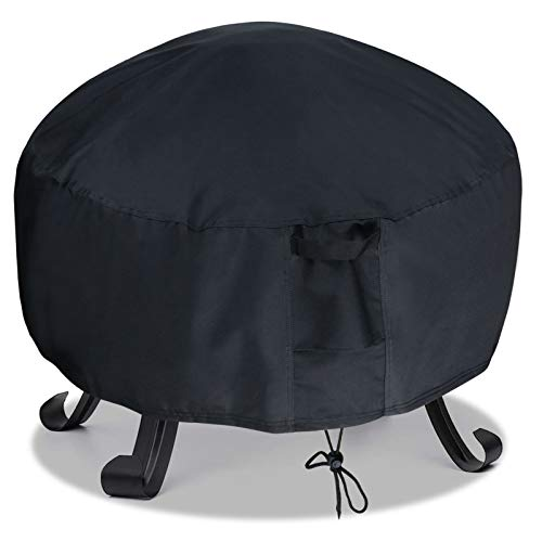 Kasla 32'' Round Patio Fire Pit Cover - Heavy Duty 420D Polyester Waterproof Windproof Outdoor Furniture Table Cover (32''D×16''H)