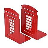 Coppia di fermalibri rossi antiscivolo in metallo resistente e durevole e a motivo cabina telefonica inglese, decorazione per camera, biblioteca, ufficio, scuola Red