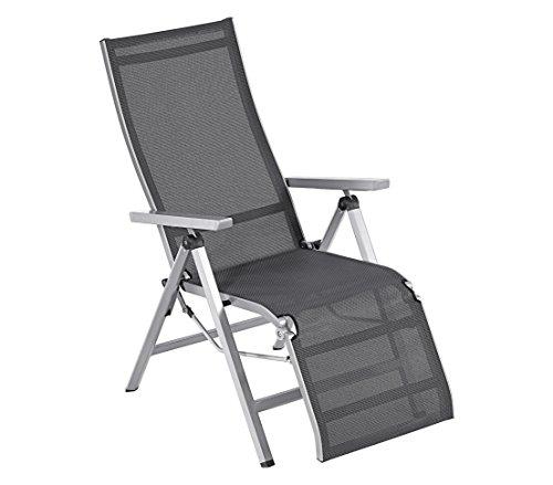 Dehner Relaxstuhl Macon, ca. 112 x 76.5 x 60 cm, Aluminium/Textilene, schwarz