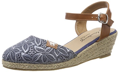 MUSTANG Damen Keil-Sandaletten Blau, Schuhgröße:EUR 43