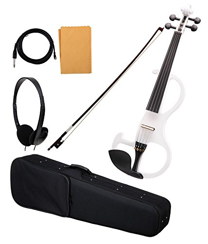 Classic Cantabile EV-90WH E-Violine (E-Geige mit Tonabnehmer, Fichte/Ahorn/Ebenholz) weiß