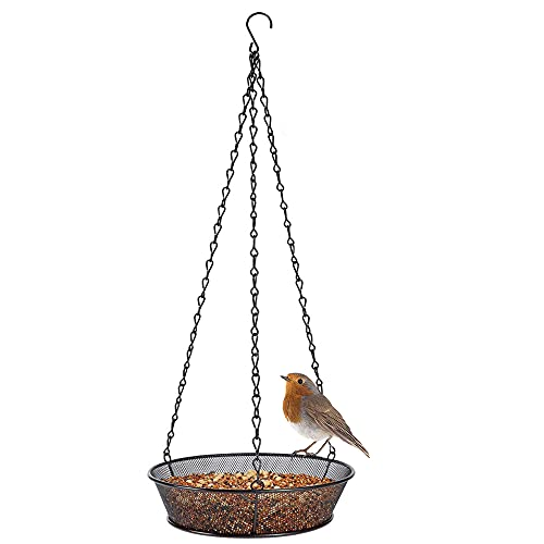 CJBIN Comedero colgante para pájaros, comedero colgante para gusanos de la harina, cuenco de metal para pájaros silvestres, color negro
