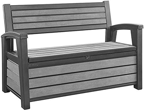 GSD Keter Hudson 60 Gallon Plastic Resin Weather Resistant Outdoor Backyard Patio Storage Bench Deck Box, Grey
