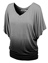 ***NO ELASTIC SHIRRING DETAILS AT SIDES*** Ombre loose fit dolman sleeve top / Lightweight soft fabric with stretch for comfort Double stitching on sleeves and bottom hem for long lasting / V-neckline / Variety of colors HAND WASH IN COLD WATER / DO ...