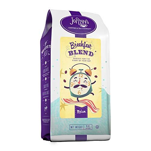 Joffrey's Coffee & Tea Breakfast Blend, Rich Coffee Blend, Artisan Medium Roast, Arabica Coffee Beans, Smooth-Bodied Ground Coffee Blend, Balanced Flavor & Aroma, Freshly Roasted (Ground, 16 oz)
