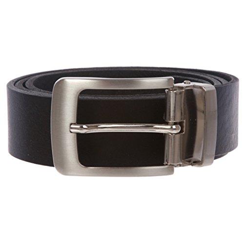 "Men's 1 1/4"" Clamp on Italian Leather Dress Belt, Black | 32/34"