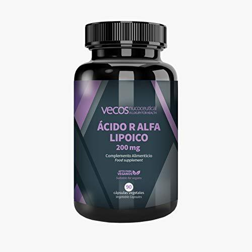 Ácido R alfa Lipoico Vecos 200 mg - Potente antioxidante en forma R que combate los radicales libres y mantiene niveles de azucar en sangre. 90 cápsulas Vegetales -APTO VEGANOS