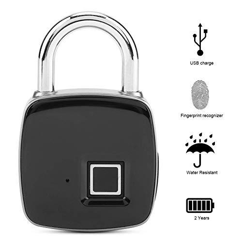 QWEAS Fingerabdruck Vorhängeschloss, Smart Keyless Sicherheitsschloss Biometrisch IP65 Wasserdichter Diebstahlsicherung Gepäck Schulkoffer