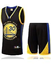 FSBYB Heren Jerseys Set - Golden State Warriors #30 Stephen Curry Basketbal Jerseys Swingman Mouwloos T-shirt & Shorts