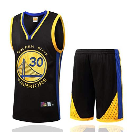 FSBYB Mens Trikots Set - Golden State Warriors # 30 Stephen Curry Basketball Jerseys Swingman Ärmel T-Shirt und Shorts,Schwarz,XL