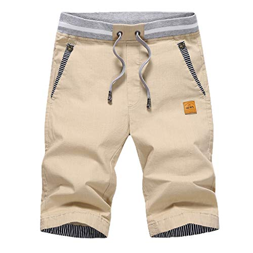 FRAUIT Kurze Hose Herren Sommer Shorts 100% Baumwolle Baggy Shorts Chino Jeans Kurze Cargo Hose Mit Taste