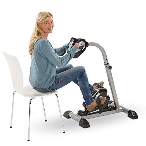 maxVitalis 2in1 Arm- und Beintrainer Pedaltrainer mit Motor, Trainingscomputer & Massage-Handgriffe, abwechslungsreiches und individuelles Training, Heimtrainer ideal für Senioren, schwarz/Silber