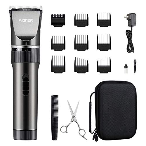 WONER Hair Trimmers, Quiet Cordless Rechargeable Hair Clippers for men, 16-piece Home Hair Cutting Kits, Hair Machine for Women Father Mother Boyfriend