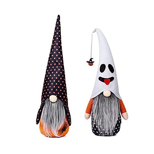 weixinbuy Decoraciones de Halloween Sin Cara Gnomo Muñeca Adornos Muñeca Araña Calabaza Wave Point Party Atmosphere Props Conjunto de dos piezas