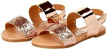 bebe Girls' Sandal – Two Strapped Open Toe Glitter Leatherette Sandals with Heel Strap  Toddler/Little Kid  Rose Gold Size Little Kid 11.0