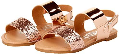 bebe Girls' Sandal – Two Strapped Open Toe Glitter Leatherette Sandals with Heel Strap (Toddler/Little Kid), Rose Gold, 8 M US Toddler