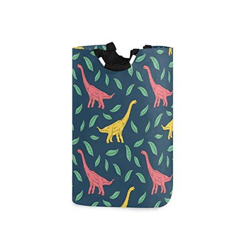 Dinosaurio colorido de dibujos animados con hojas en azul oscuro Bolsa de lavandería grande Cesta Bolsa de compras Cesto de ropa plegable de poliéster Bolsa de ropa plegable Papelera de lavado plegabl