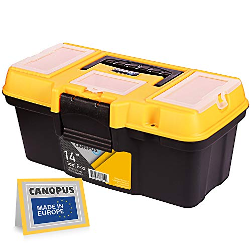 CANOPUS Plastic Toolbox 14inch Portable Tool Box Tool Organizer with Extra Storage Tray for Home Tools Nails and Pins BlackYellow