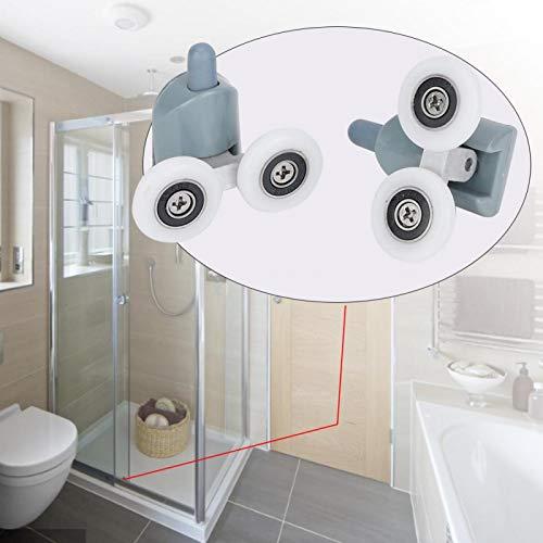 DAUERHAFT Fiables Rodillos para Puertas de Ducha, Rodillos, poleas, 4 Rodillos Inferiores, Piezas de Repuesto a Prueba de óxido, para baño, para Puertas de Vidrio de 5 mm o 6(Double Wheel)