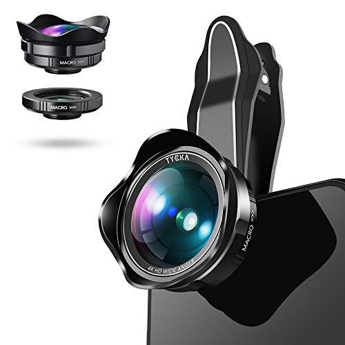 TYCKA Kit de Lentes de cámara para teléfono portátil, Lente de Gran Angular de 110 ° 0.6X, Lente Marco 15X, Funda portátil y paño de Limpieza de