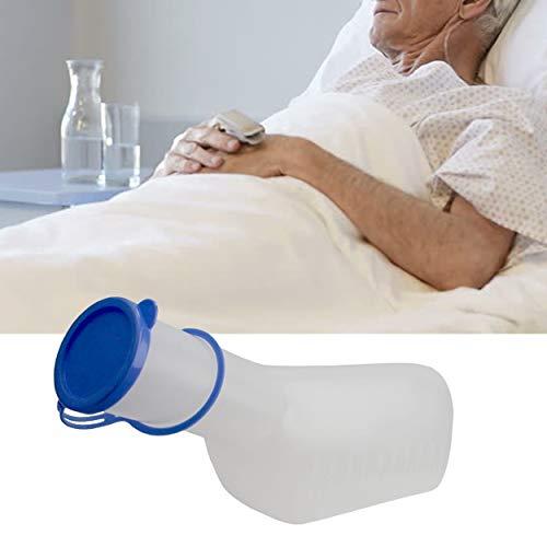 Lunata 1x Botella de orina PP para hombres (lechosa) con cierre, Urinario 1 litro de capacidad, esterilizable en autoclave