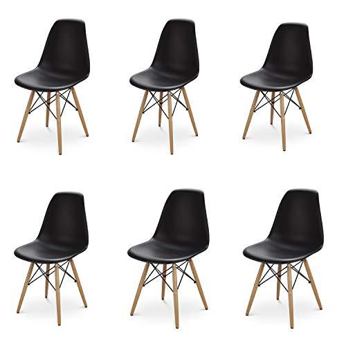 MeillAcc 6er-Set Modern Eiffel Dining Room und Ihr Zimmer mit skandinavischen Stühlen Bequemer Holzstuhl perfekt für Ihr Zuhause (Schwarz)