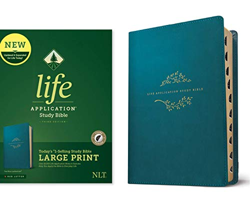Tyndale NLT Life Application Study Bible, Third Edition, Large Print (LeatherLike, Teal Blue, Indexed, Red Letter) – New Living Translation Bible, Large Print Study Bible for Enhanced Readability