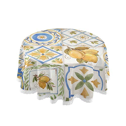 ALAZA Round Tablecloth Vintage Watercolor Sicily Ornament Square Lemons Pattern Washable Spill-Proof Table Cloth Stain Resistant Table Cover Tabletop Decor for Holiday Outdoor Party Picnic 60 Inch