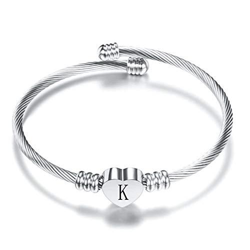 FGT Initial Heart Letter Bracelet Women Silver Cuff K Bracelets for Wife Girlfriend Her Birthday Gift