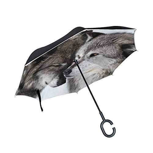 rodde Double Layer Inverted Love Wolf Regenschirm Cars Reverse Windproof Regenschirm für Car Outdoor mit C-förmigem Griff