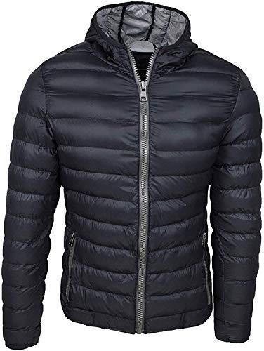 Evoga Piumino Uomo Trade Invernale Casual Giacca Giubbotto Slim Fit con Cappuccio (XL, Nero)